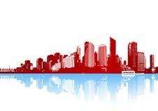 Funky panorama van stad met bezinning. Vector Royalty-vrije Stock Foto's