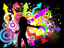 Funky party. Silhouette of a female on a funky party background stock illustration