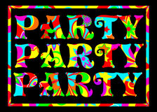 Funky party banner. Party banner in a groovy psychedelic pattern on a black background use as a header, invite, postcard, advert or label Royalty Free Stock Photos