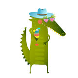 Funky Party Cocktail Crocodile Wearing Hat Character Royalty Free Stock Images