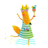 Funky Party Cocktail Fox Wearing Dress with Camera Character Stock Image