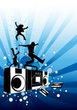 Funky Party People. A party design with people and music elements Stock Images