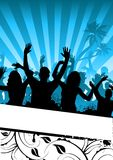 Funky Party People. A crowd of people cheering with room for text Stock Images