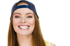 Attractive girl chewing gum. Royalty Free Stock Images