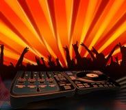 Funky people - electro music concert. Nightclubing - funky people having fun; electro music background (illustration stock illustration