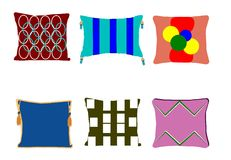 Funky pillows set Royalty Free Stock Image