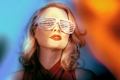 Funky pin-up fashion girl in retro american style Stock Image