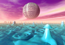 Funky planet surface. A psychedelic funky planet surface in 3d Stock Images
