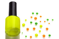 Funky polish nail. Funky colorful nail polish with reflaction stock photography