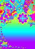 Funky psychedelic banner. A groovy fun and colorful 60s and 70s style post card, header, label or invite with blank copy-space on a blue background Royalty Free Stock Image