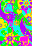 Funky psychedelic flower power pattern. Funky bright flower-power wallpaper pattern from the hippie era of the late 1960's and early 1970s for themes, textiles Stock Photo