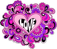 Funky Psychedelic Heart Vector Illustration. Funky Pink and Purple Hand-Drawn Psychedelic Heart Love Vector Illustration Stock Image