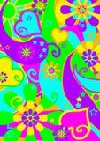 Funky Psychedelische Patroon van de Macht van de Bloem Stock Foto