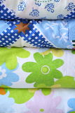 Funky Quilt Fabric. A variety of patterns patterns quilt Royalty Free Stock Photo