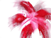 Funky red flower. A red flower shape painted on a white canvas background Stock Photo
