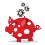 Funky Red Money Pig - Piggy Bank with Dollar Coins. Vector Isolated on White Background Royalty Free Stock Photo