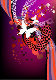 Funky red and purple retro graphic. With swirls, butterflies and dots on purple background Royalty Free Stock Photo