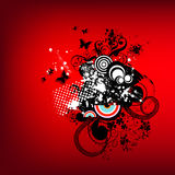 Funky red retro graphic. With swirls, butterflies and circles on red background Royalty Free Stock Images