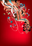 Funky red retro graphic. With swirls, stars and flowers on red background Stock Photography