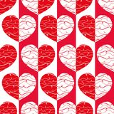 Funky red and white reflected hearts with doodle lines on striped geometric background as seamless vector pattern. stock photo
