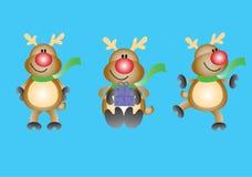 Funky reindeer. Cute christmas Reindeer in 3 positions Royalty Free Stock Images