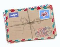 Funky retro airmail envelopes. Vector illustration of funky retro airmail envelopes with stamps  on white background Royalty Free Stock Photo