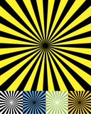 Funky retro background set cmyk. Retro radial background in six color sets vector illustration