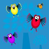 Funky retro birds Stock Images