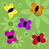 Funky retro butterflies Stock Images