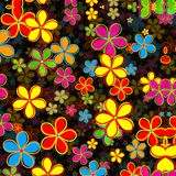 Funky Retro Daisy Flower Pattern vector illustratie