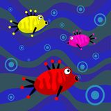 Funky retro fish. Cartoon sea fish background Stock Images