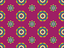 Funky Retro Floral Pattern. Seamless Retro Pattern on Maroon Background Royalty Free Stock Images