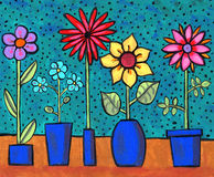 Funky Retro Flowers. Painting/illustration of fun flowers in blue flowerpots with polka-dot background Royalty Free Stock Photos
