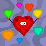 Funky retro hearts Stock Photo