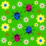 Funky retro ladybugs vector illustration