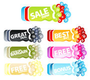 Funky retro retail banners. Vector illustration of a colorful collection of funky swirly retail tags or banners Royalty Free Stock Images