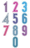 Funky retro stripes numbers set. Stock Images