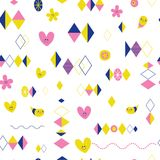 Funky retro style seamless pattern design with cute little characters. Funky retro style seamless pattern design with cute little crazy characters Royalty Free Stock Images