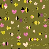 Funky retro style seamless pattern. Design with cute little characters Royalty Free Illustration