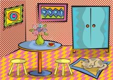 Funky ruimte van het beeldverhaal met kat Royalty-vrije Stock Afbeelding