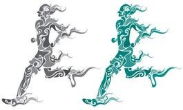 Funky runner. Two color funky runner pattern design stock illustration