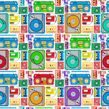 Funky 80s Themed Audio Equipment Seamless Tile. Stock Photo