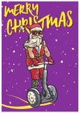 Funky Santa Claus Riding Personal Transporter Segway Klaar om met Kerstmis in te stemmen stock illustratie