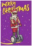 Funky Santa Claus Riding Personal Transporter Segway Ready to Welcome Christmas. Vector Illustration of Funky Santa Claus Riding Personal Transporter Segway Stock Photography