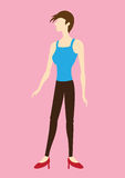 Funky Short Hair Woman Side View Vector Illustration. Vector illustration of stylish cartoon woman character with short hair wearing spaghetti straps tank top Royalty Free Stock Images