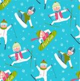 Funky Skier Snowboarder Winter Sport Cartoon Stock Image