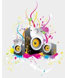 Funky speaker background. An abstract, funky illustration with a set of sound speakers with colorful designs on a light gray background Stock Photo