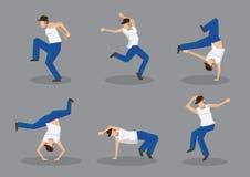 Funky Street Dancers Vector Icon Set stock illustration