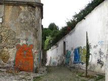 Urban street art cool. Funky streetart in Portugal and cartoon bear Royalty Free Stock Photography