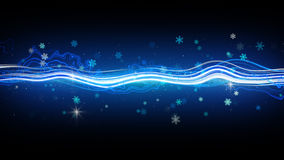 Funky stripe and glowing snowflakes Stock Image
